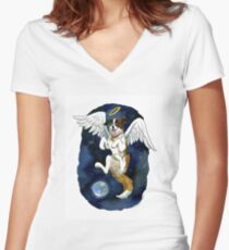 Peace on Earth angel Women's Fitted V-Neck T-Shirt
