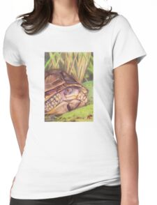 Three Toe Box Turtle Womens Fitted T-Shirt