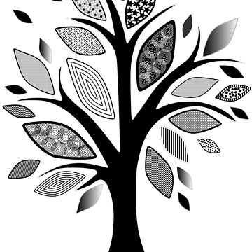 Black and White Graphic Tree by MaggiesStudio