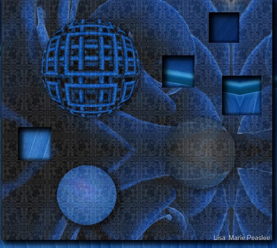 Square Blue 3D by Lisa  Marie Peaslee