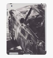 Elegant Black & White photo of an aerodynamic chassis from a Supercar, Peter Lindbergh style. Triumph spitfire, classic sports car. Classy shot iPad Case/Skin