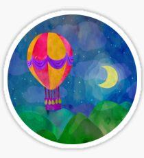 Hot air balloon at night.  Sticker
