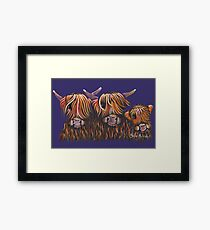 Scottish Hairy Highland Cows ' The McHuewies ' by Shirley MacArthur Framed Print