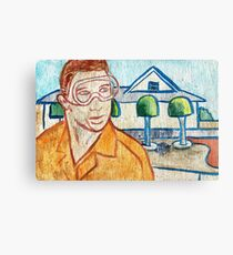 Man with Safety Goggles in Front of Well-Maintained Home Canvas Print