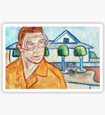Man with Safety Goggles in Front of Well-Maintained Home Sticker
