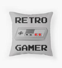 Retro Gamer with Controller Throw Pillow