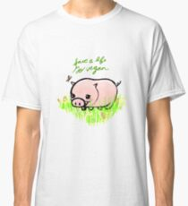 Save a Life - Piggy with Flowers #GoVegan Classic T-Shirt
