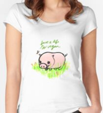 Save a Life - Piggy with Flowers #GoVegan Women's Fitted Scoop T-Shirt