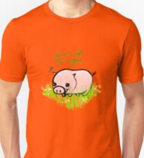 Save a Life - Piggy with Flowers #GoVegan Unisex T-Shirt