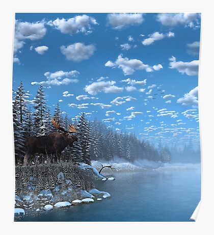 Christmas Day at Moose Lake Poster