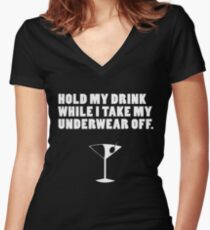 Hold My Drink Women's Fitted V-Neck T-Shirt