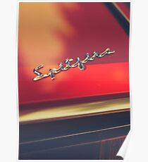 Macro photo of a Triumph Spitfire chromed logo, british red supercar, old classic auto Poster