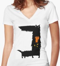 Squirrel Eating Scottie Dog Women's Fitted V-Neck T-Shirt