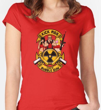 Kick ass! Chew bubble gum! Women's Fitted Scoop T-Shirt