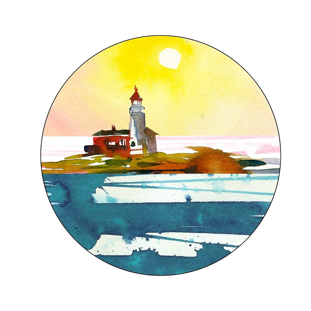 Water color lighthouse scene\