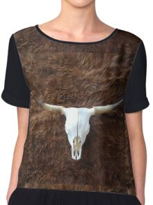 Highland cowhide and skull | Texture Chiffon Top