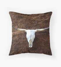 Highland cowhide and skull | Texture #home #lifestyle Throw Pillow