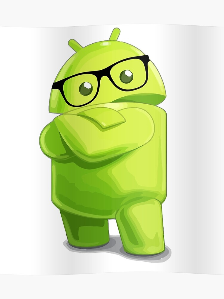 android logo geek glasses | Poster
