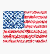 american flag usa flag floral Photographic Print