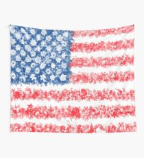 american flag usa flag floral Wall Tapestry