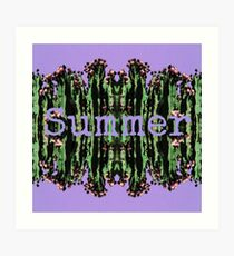 Cacti Summer Reflections Typography  Art Print