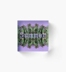 Cacti Summer Reflections Typography  Acrylic Block