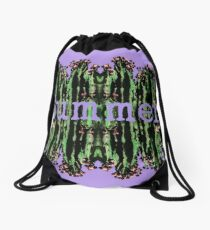 Cacti Summer Reflections Typography  Drawstring Bag