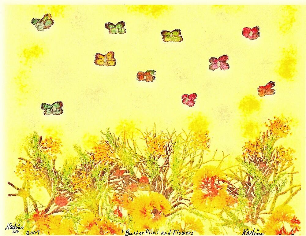 Butterflies and Flowers by DeenieM