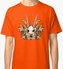 Goat Skull and Engraved Floral Detail Classic T-Shirt