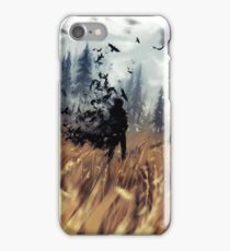crows in the field iPhone Case/Skin