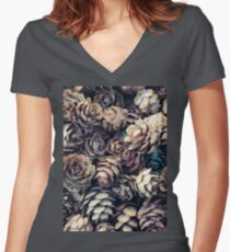 Tiny Pinecones Women's Fitted V-Neck T-Shirt