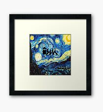 The Doctor Flying With Starry Night Framed Print