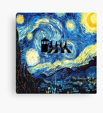 The Doctor Flying With Starry Night Canvas Print