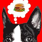 Boston Terrier Thinking About Burgers by Rich Anderson