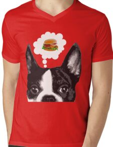 Boston Terrier Thinking About Burgers Mens V-Neck T-Shirt