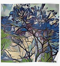 BLUE TREE PAINTING  Poster