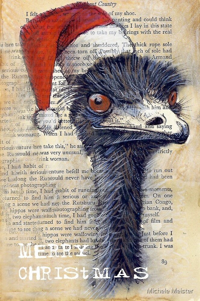 """Emu Christmas Card"" by Michele Meister 