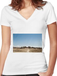Trona Pinnacles California 0103 Women's Fitted V-Neck T-Shirt