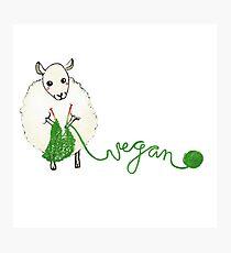 Vegan Crafter ~ Cute Knitting Sheep Photographic Print
