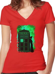 Tardis In Light Green Shadow Women's Fitted V-Neck T-Shirt