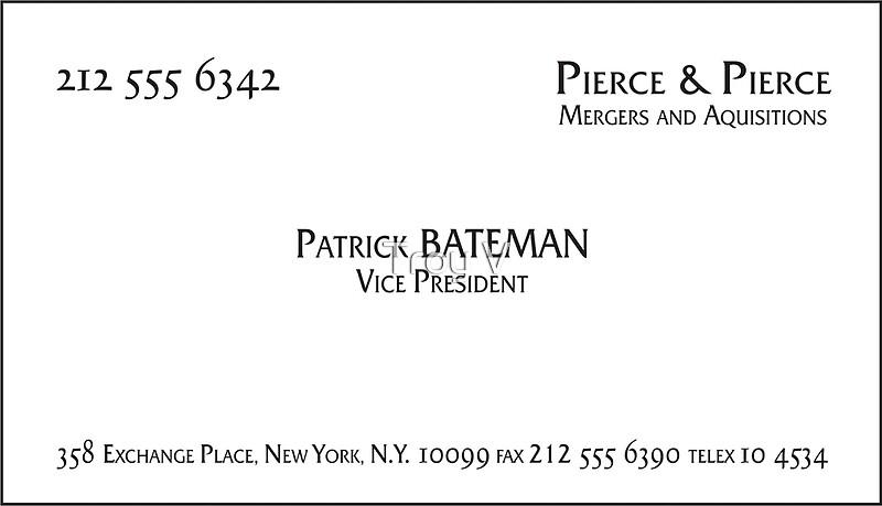 Patrick bateman business card art prints by troy v redbubble patrick bateman business card by troy v colourmoves