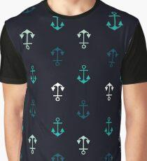 Marine Anchor Pattern - Nautical Blues Graphic T-Shirt