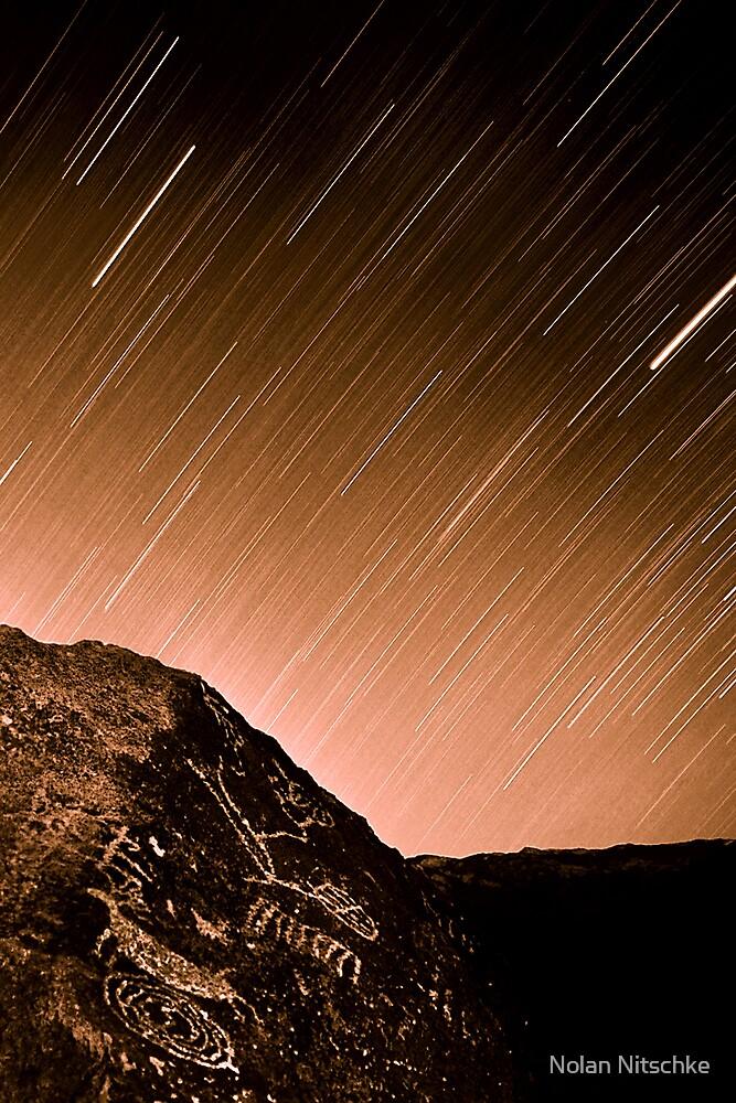 Paiute Petroglyph Star Trail by Nolan Nitschke