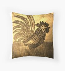 ROOSTER IN THE GRASS Throw Pillow