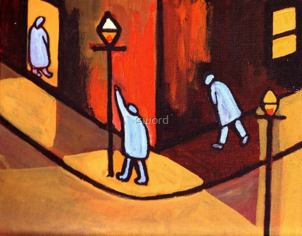 Underneath the lamplight from my original acrylic painting by sword