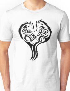 Tribal Wolves Heart - version 1 - black Unisex T-Shirt