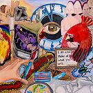 Red Bird with Doomsday Clock by Pamela Spiro Wagner