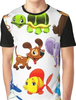 Coloured Animals Collection Graphic T-Shirt