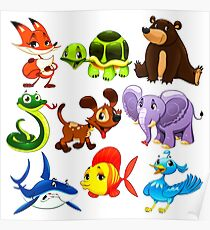 Coloured Animals Collection Poster