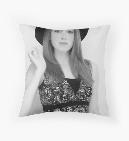Model Black White Throw Pillow